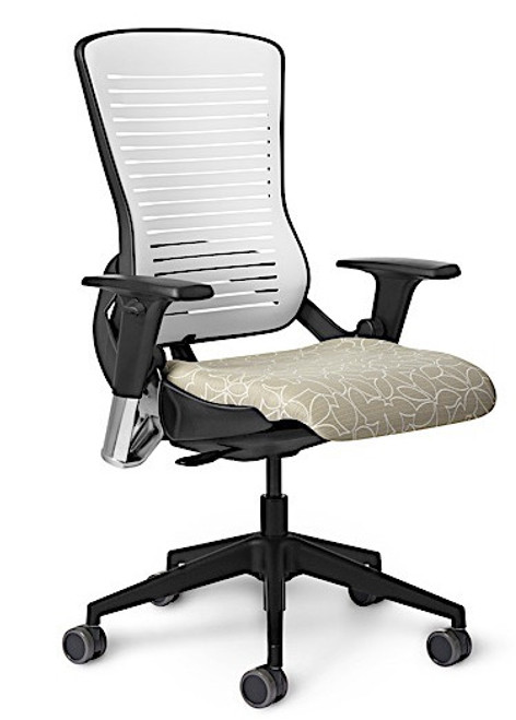 OM5xt Series Work Xtra Tall Back with Black Frame, Black Base and Arctic White PolyFlex Back