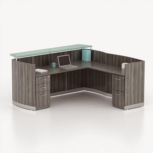 Mayline Medina Reception Desk in Gray Steel