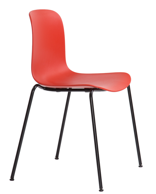 Flux 4 Leg Guest Stacking Chair Coral Red