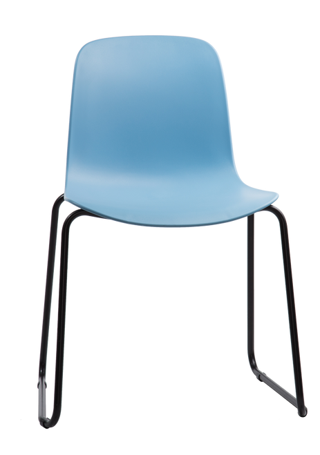 Flux Sled Base Guest Stacking Chair Pastel Blue