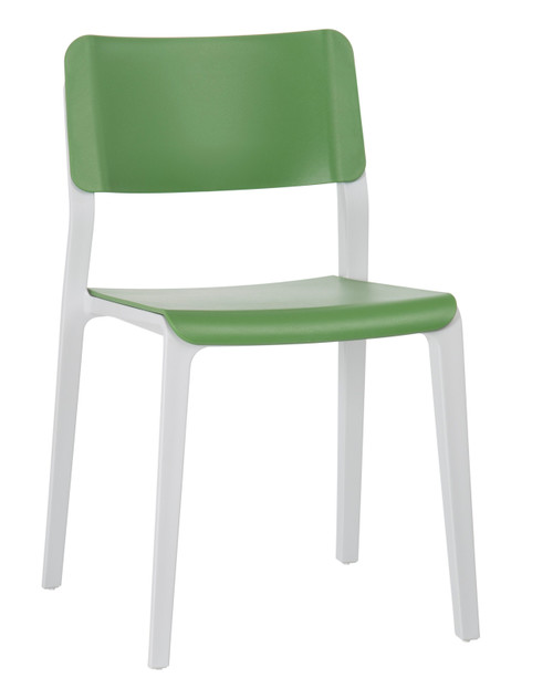 Mojo Armless Stacking Chair May Green with Light Grey frame