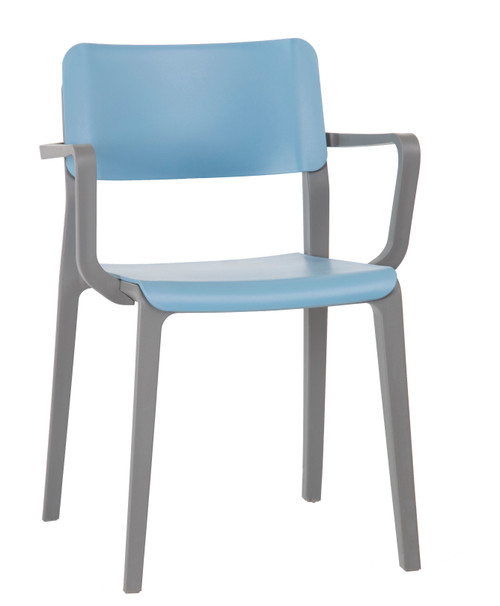Mojo Fixed Arm Stacking Chair Pastel Blue with Light Grey Frame