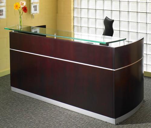 Mayline Napoli Veneer Reception Desk in Mahogany on walnut veneer
