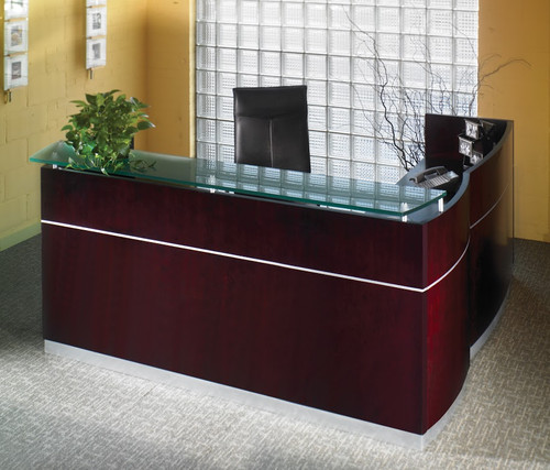 Mayline Napoli L Shaped Veneer Reception Desk in Mahogany