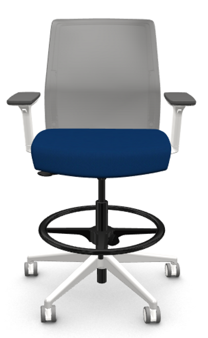 Zilo Grey Frame Conference Task Chair, Royal seat, adjustable arms with grey base and black footring