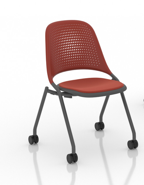 Bixby Nester with Upholstered Seat, armless, optional casters