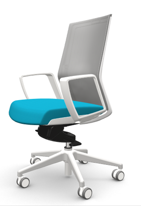 Zilo Grey Frame Conference Task Chair, Atlantic seat fabric and loop arms, grey base