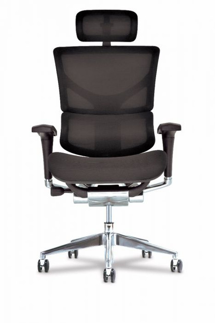 X3 Management Task Chair Plus with extra wide seat, black with headrest