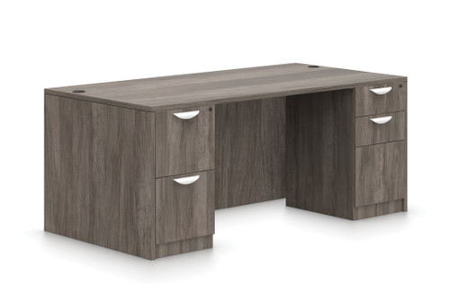 "Offices To Go SL-Q 71"" Double Pedestal Desk in Artisan Grey"