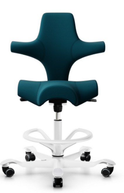 HAG Capisco Ergonomic Stool, Note fabric, white base and footring