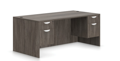 "Offices To Go Double Pedestal 66"" Desk in Artisan Grey"