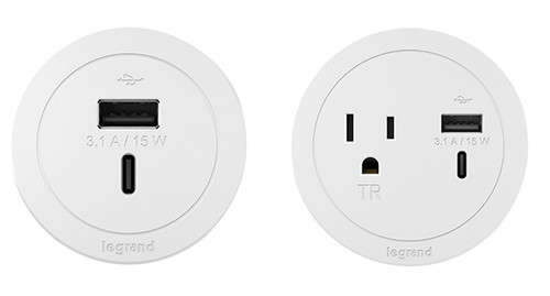 Legrand Round Furniture Power Center 2 port configuration options