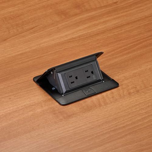 Legrand DEQUORUM™Flip Up Table Box, DQFP15 with 1 duplex power outlet, black