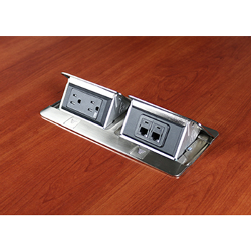 Legrand DEQUORUM™Flip Up Table Box, DQFP15-2A with 1 duplex power outlet and 2nd opening to accommodate a wide range of communication outlets, stainless