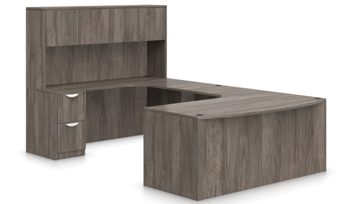Offices To Go SL-D Bow Front Curved U Desk Suite in  Artisan Grey