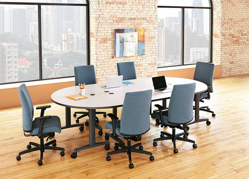 Fixed Top Huddle Conference Tables with Half Round Ends and 2 Rectangular Center Tables, Charcoal Grey T-Legs with Casters