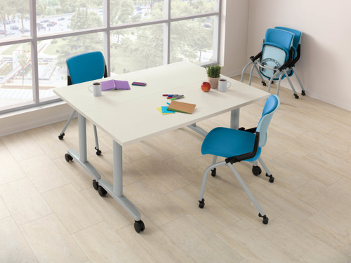 Fixed Top Huddle Conference Table with Rectangular Ends and Fixed Legs