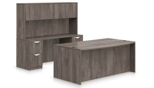 Offices To Go SL-I Executive Bow Front Desk Suite in Artisan Grey