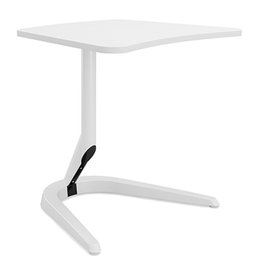 "Motific 24""Mobile Tech Table, white amorphic top, white base and column"