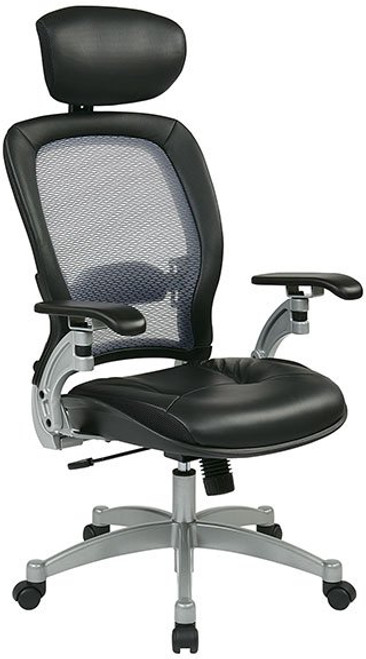 Leather Seat Light Air Grid® Back Chair with Adjustable Headrest