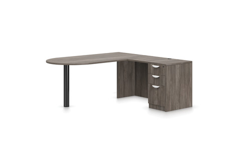 "Offices To Go SL-K 71"" Personal Peninsula Desk in Artisan Grey"