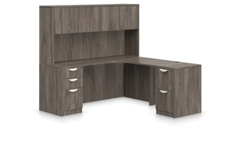 Offices To Go SL-L Curved L Desk Station in Artisan Grey