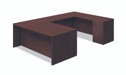 "Hon Foundation 72"" Reversible U-Workstation in Mahogany"