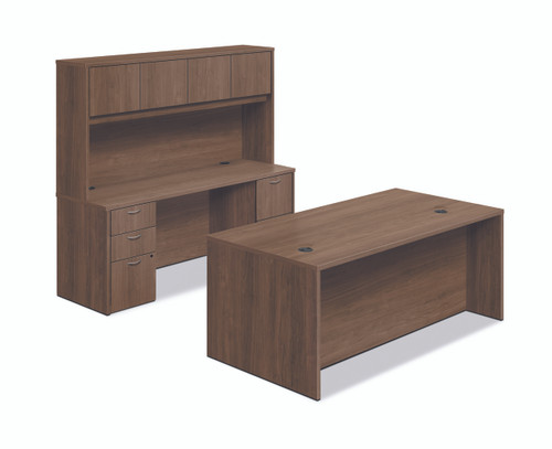 """72"""" Workstation with Overhead Storage in Pinnacle"""