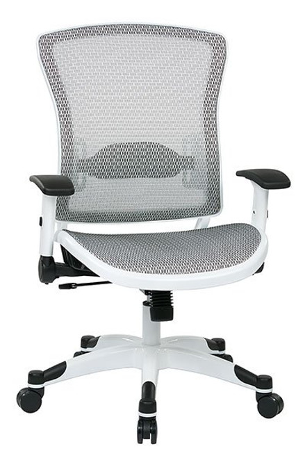 White Frame Executive Chair with Mesh Back and Seat