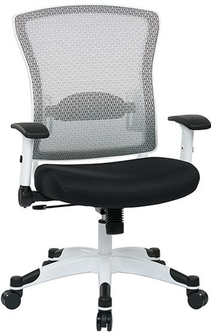 White Frame Executive Chair with Mesh Back and  Black Fabric Seat