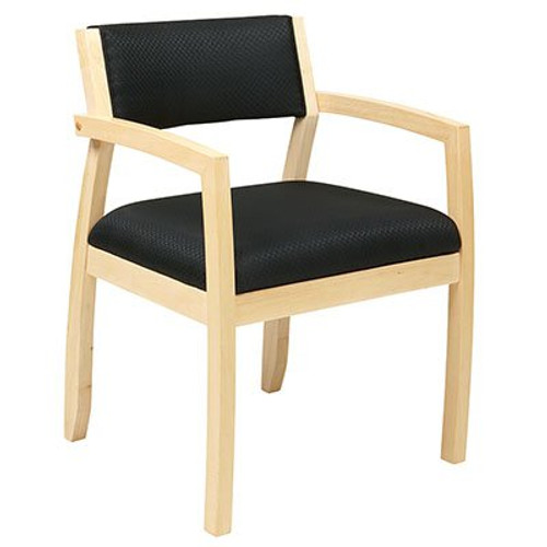 Napa Guest Chair with Upholstered Back in Maple Finish and Black Fabric