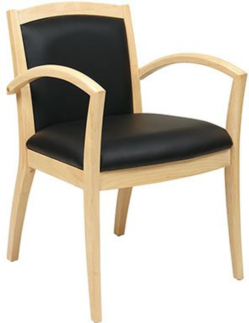 Napa Wood Guest Chair with Full Cushion Back in Maple Finish