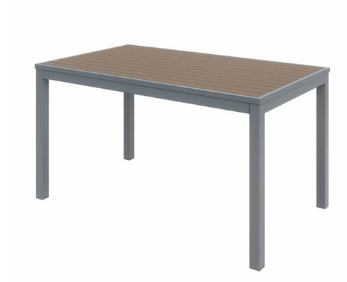 Eveleen Aluminum Frame Rectangular Table, Mocha top and silver frame