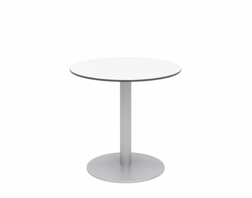 "30"" Eveleen Aluminum Cafe Height Bistro Table, white top and silver base"