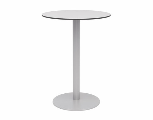 "Eveleen Aluminum 30"" Bar Height Bistro Table, grey top and silver base"
