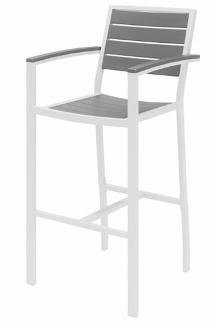 Eveleen Aluminum Frame Stool, Grey Polypropylene seat and back, white frame