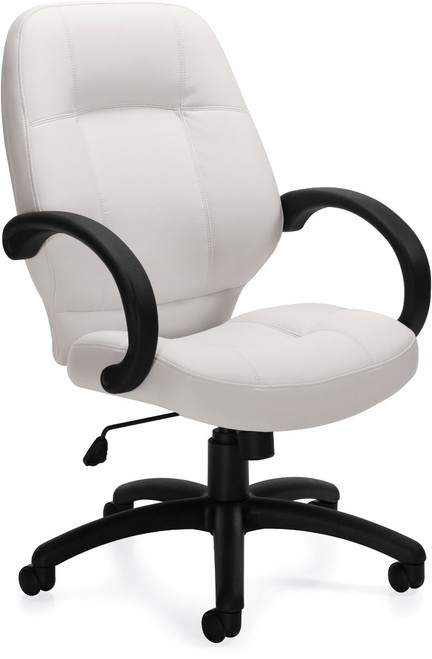 Offices To Go Luxhide Executive Chair with Fixed Arms in White Luxhide