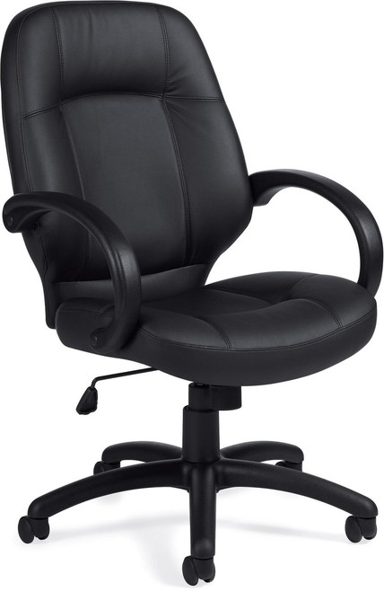 Offices To Go Luxhide Executive Chair with Fixed Arms in Black Luxhide