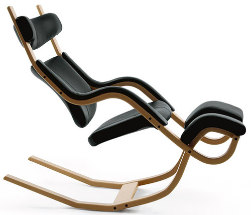 Varier Gravity Balans Chair in Black Revive Fabric and Natural Ash Frame