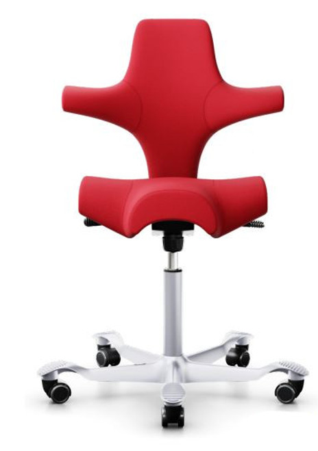 HAG Capisco H8106 Saddle Seat with Red Gabriel 64216 Fabric and silver base Quickship