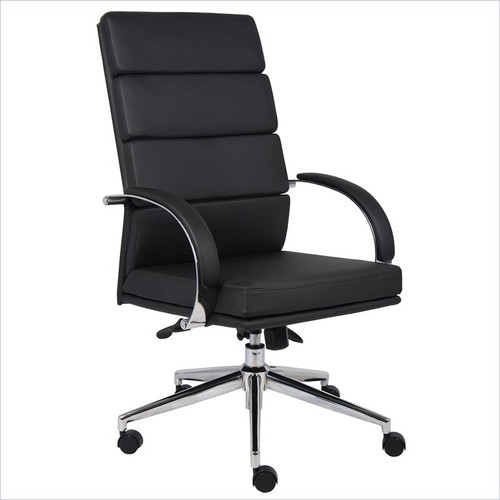Polished Frame High Back Executive Chair Black Softouch Leather