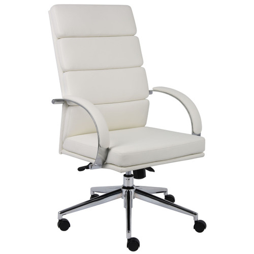 Polished Frame High Back Executive Chair White Softouch Leather