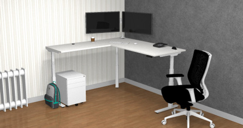 Clear Design Home Office Bundle B with Boost L-Shaped Height Adjustable Desk
