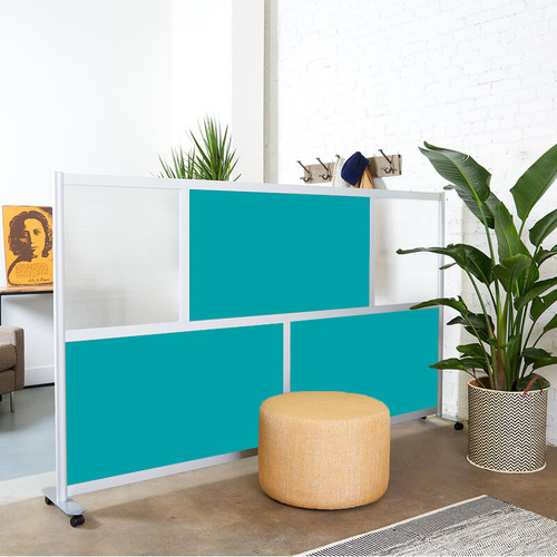 "Loftwall 100""W Framewall Room Dividers, Teal 53""H"