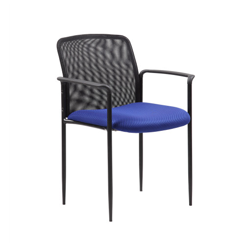 Stackable Mesh Guest Chair in Blue Seat Black Mesh Back