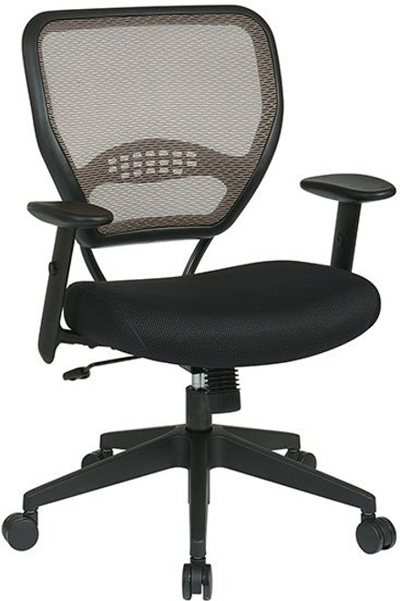 Air Grid® Back and Mesh Seat with Angled Arms in Latte Mesh and Black Seat