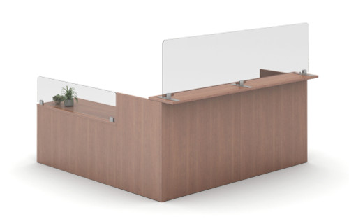AIS Lexan Worksurface Privacy Screens with Freestanding Base can be placed on any worksurface (here combines with surface screw-in models)