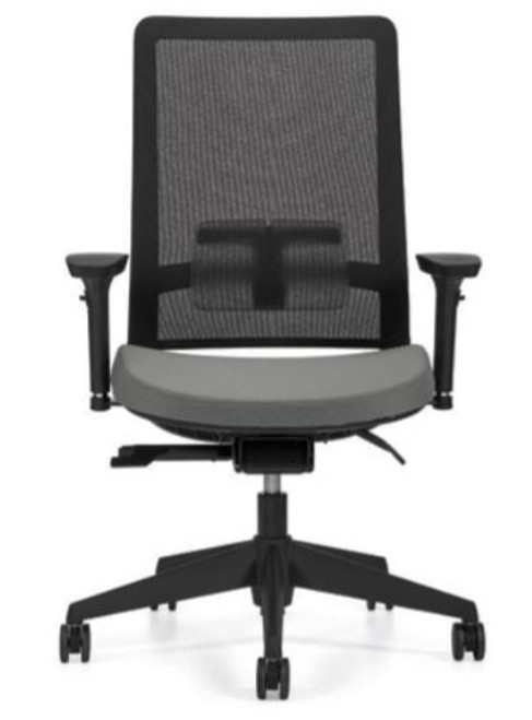 Factor 5540 High Mesh Back with Weight Sensing Synchro-Tilter and Seat Slider with Black Mesh and Base, Granite seat fabric