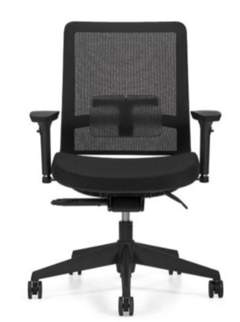 Factor 5541 Mid Mesh Back with Weight Sensing Synchro-Tilter and Seat Slider with Black Mesh and Base, Black seat fabric