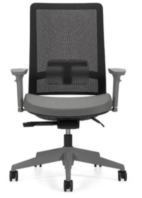 Factor 5540 High Mesh Back with Weight Sensing Synchro-Tilter and Seat Slider with Black Mesh, Shadow Frame, Granite seat fabric